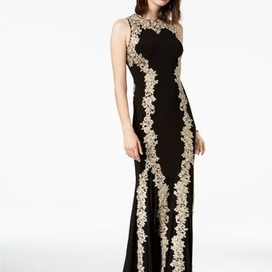 Betsy & Adam Metallic Embroidered Mermaid Gown